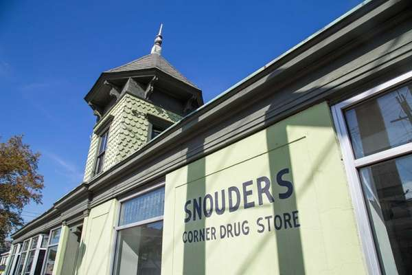 The old Snouders Corner Drug store in downtown