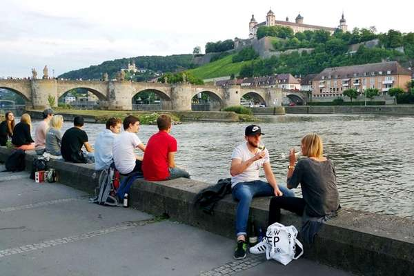 Wuerzburg's long, inviting embankment stretches from its castle