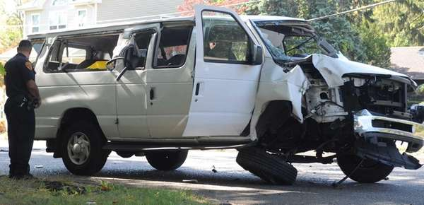 Eleven people were injured after the van they