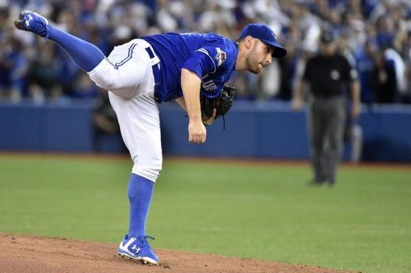 Toronto Blue Jays' starting pitcher Marco Estrada throws