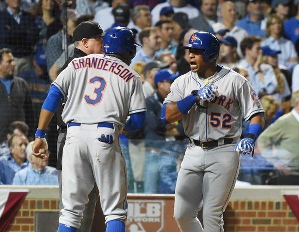 New York Mets rightfielder Curtis Granderson (3) celebrates