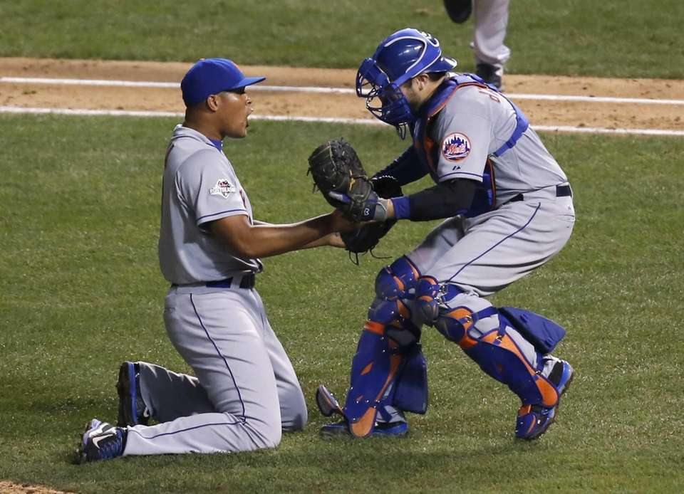 New York Mets' Jeurys Familia and catcher Travis
