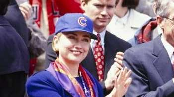 Hillary Rodham Clinton throws out the first pitch