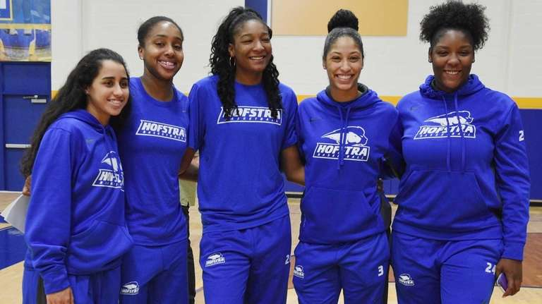 Members of Hofstra Pride's women's basketball team pose