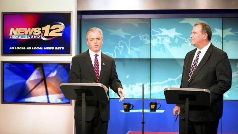 Suffolk County Executive Steve Bellone faces off against