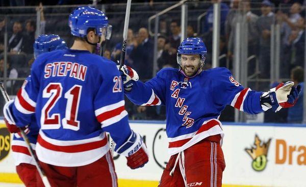Keith Yandle of the New York Rangers celebrates
