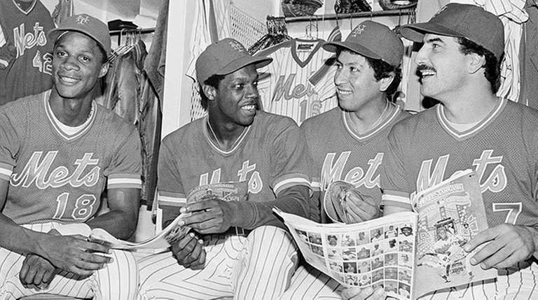 From left, 1984 NL All-Stars Darryl Strawberry, Dwight