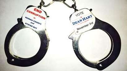 Handcuffs from the Dean Hart campaign are shown