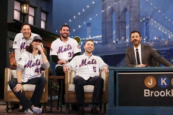 Members of the New York Mets, including, clockwise