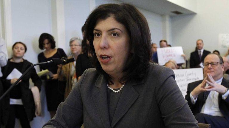 Nassau Acting District Attorney Madeline Singas addresses Democratic