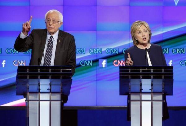 Hillary Rodham Clinton, right, and Sen. Bernie Sanders,
