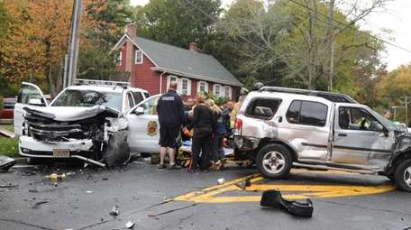 Afire vehicle and a sport utility vehicle collided