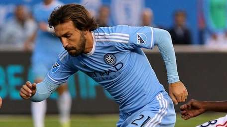 NYC FC midfielder Andrea Pirlo splits two Revolution