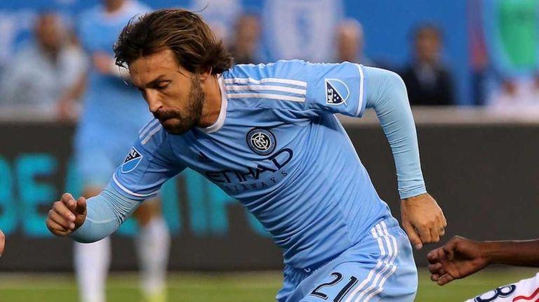 NYC FC midfielder Andrea Pirlo splits two Revolution
