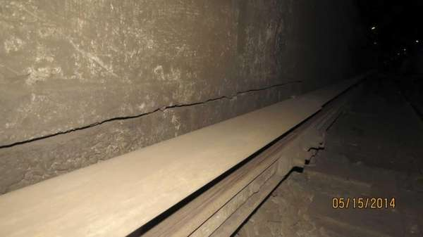 A 25-foot crack in an East River tunnel