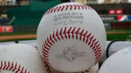 A baseball is seen during a workout the