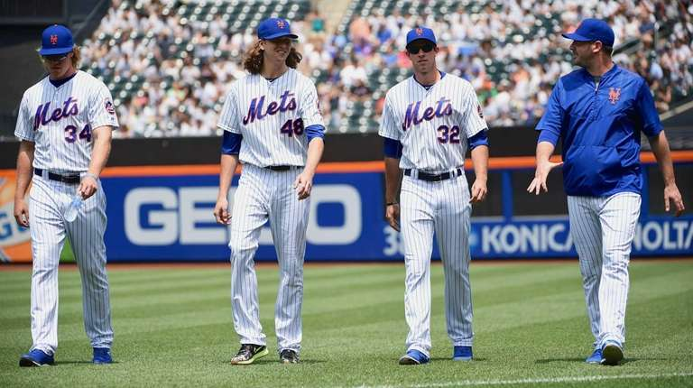 New York Mets pitchers Noah Syndergaard, Jacob deGrom,