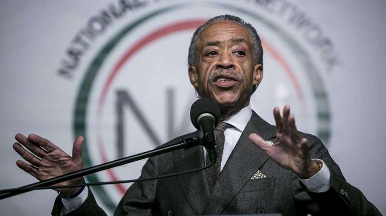 Al Sharpton speaks at his regular Saturday morning