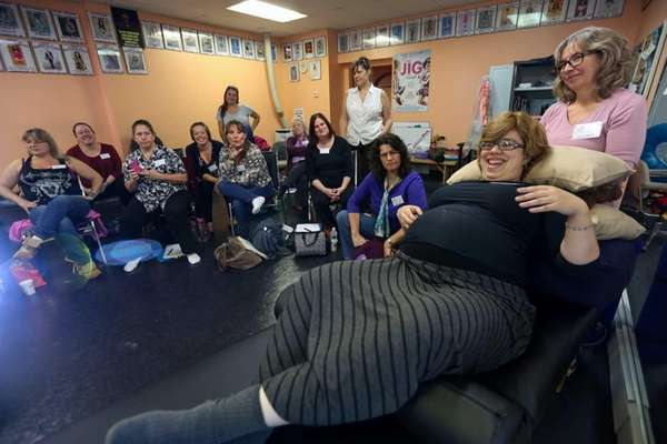 Pregnant mom, Chavie Lieberman, gives a demonstration at