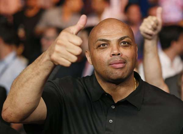 Charles Barkley joins the crowd before the start