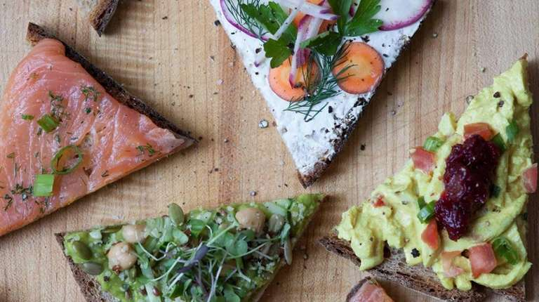 Assorted tartines at Le Pain Quotidien, opening at