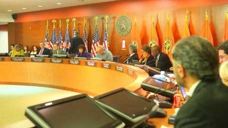 The Nassau County legislature in session on Sunday,
