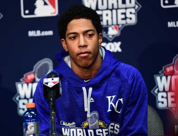 Kansas City Royals Raul Mondesi (27) speaks at