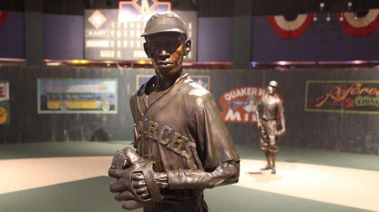 A statue of Satchel Paige on display at