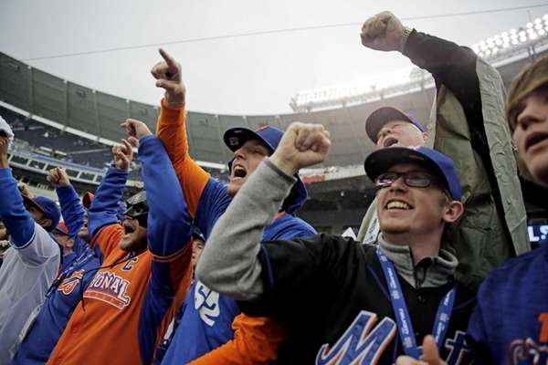 New York Mets fans cheer before Game 1