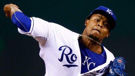Edinson Volquez of the Kansas City Royals throws