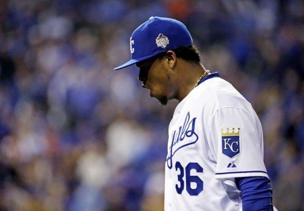 Kansas City Royals pitcher Edinson Volquez reacts during