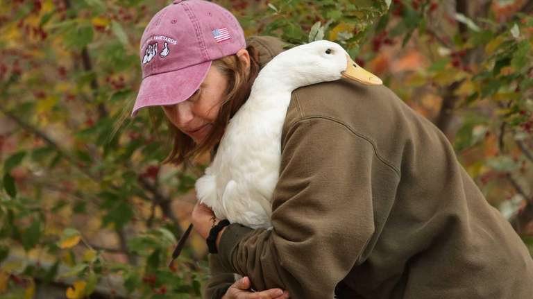 Animal rescuer Caroline Lee of Douglaston carries one