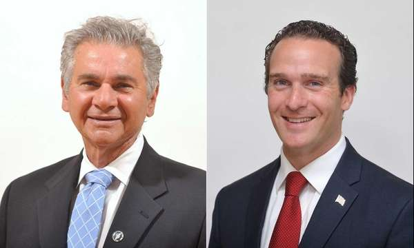 Glen Cove Mayor Reginald Spinello, left, is running