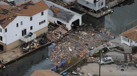 The aftermath of Hurricane Sandy near Atlantic Street