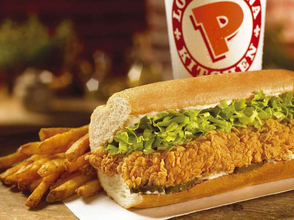 Popeyes' Chicken Po'Boy is made with two crunchy