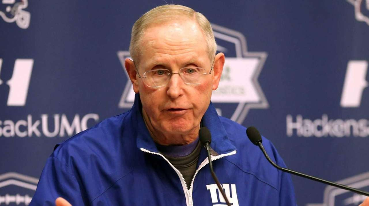 Giants Head Coach Tom Coughlin talks to media