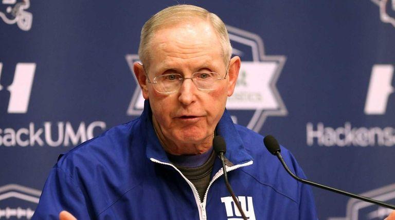 Giants Head Coach Tom Coughlin talks to media