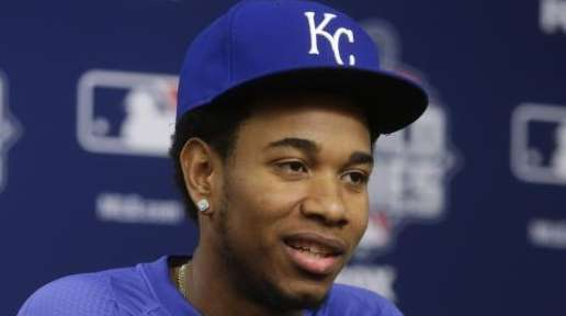 Kansas City Royals starting pitcher Yordano Ventura reacts