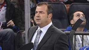 New York Rangers head coach Alain Vigneault looks