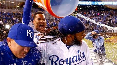 Salvador Perez of the Kansas City Royals douses