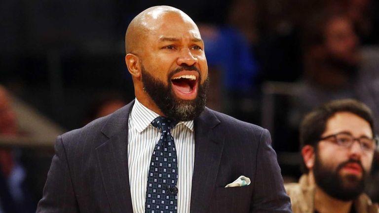 Derek Fisher of the New York Knicks reacts