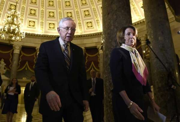 House Democratic Leader Nancy Pelosi, right, and Senate