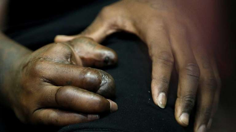 The hand of New York Giants defensive end