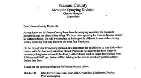 A letter being distributed in Nassau County threatening
