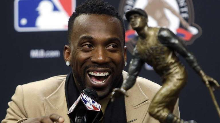 Pittsburgh Pirates Andrew McCutchen smiles at a news
