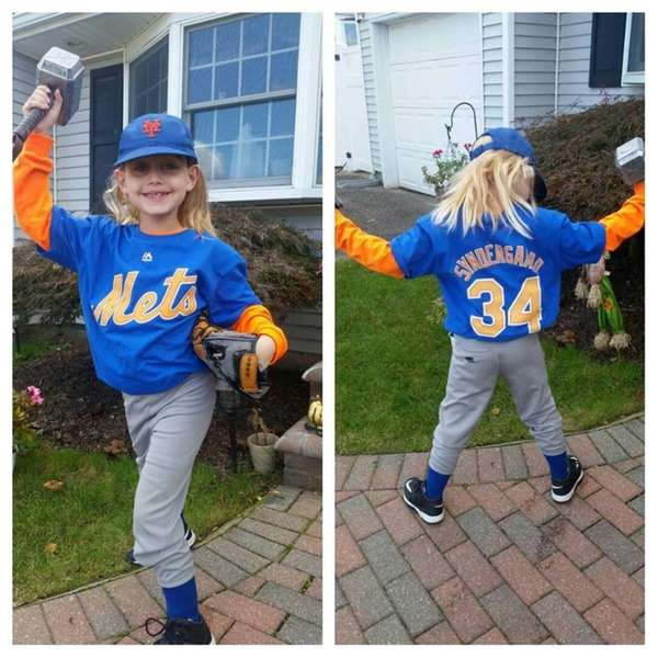 jake mormino 7 of farmingdale settled on noah syndergaard for his halloween hero costume photo credit family photo - Baseball Halloween Costume For Girls