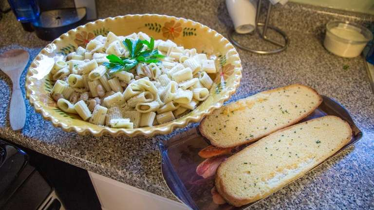 Gina Baker's pasta with beans and a side