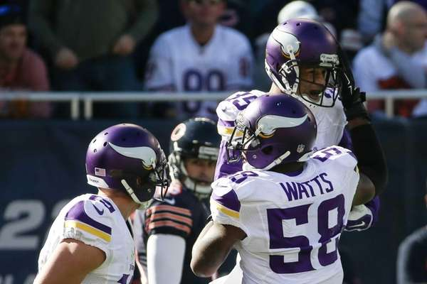 Marcus Sherels #35 of the Minnesota Vikings celebrates