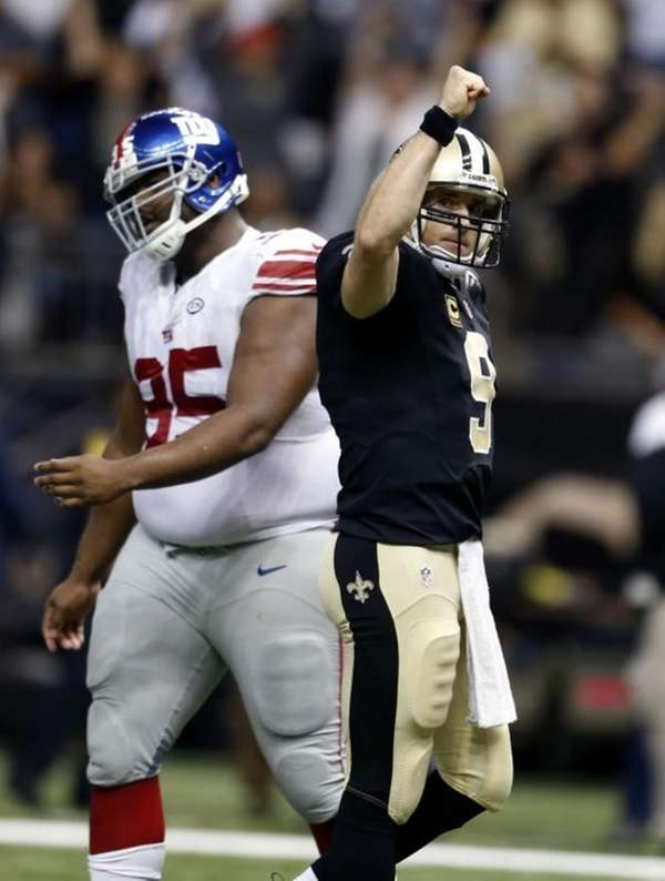 New Orleans Saints quarterback Drew Brees (9) reacts