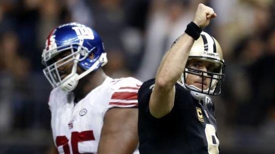 New Orleans Saints quarterback Drew Brees (9) reacts